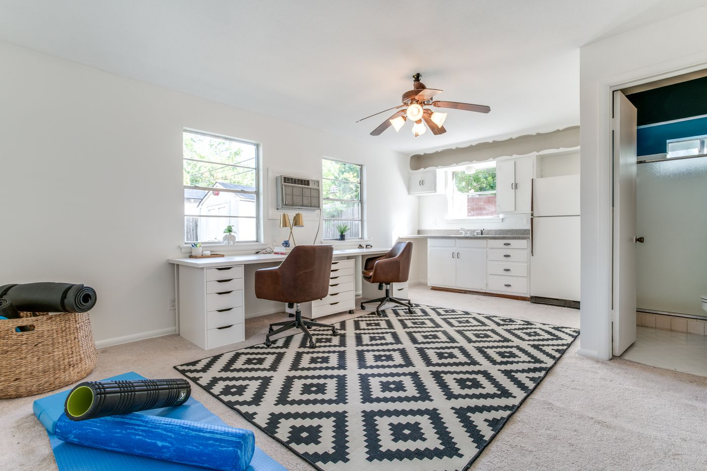 A renovated 1950s home in Old Lake Highlands at 603 Classen Drive has an accessory dwelling that currently functions as a yoga room and office. Home buyers are increasingly looking for extra space as the pandemic has more people working and schooling from home.