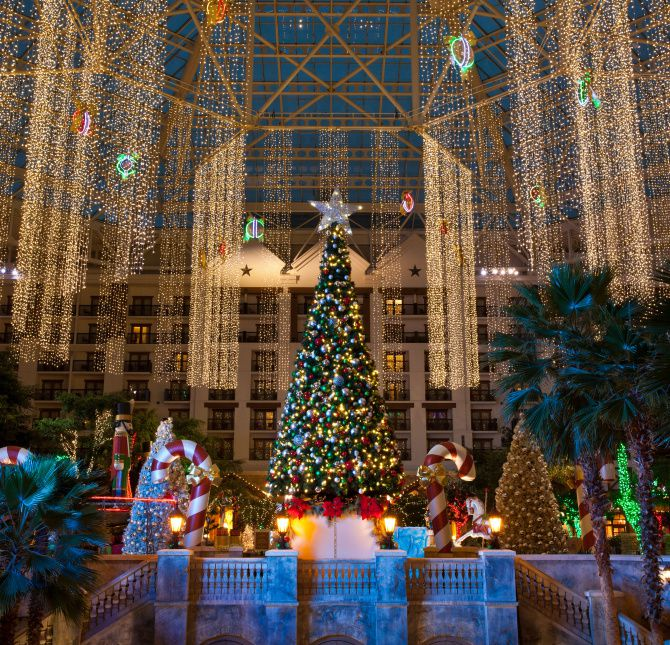 Lone Star Christmas at the Gaylord Texan Resort features decorations in the atrium.