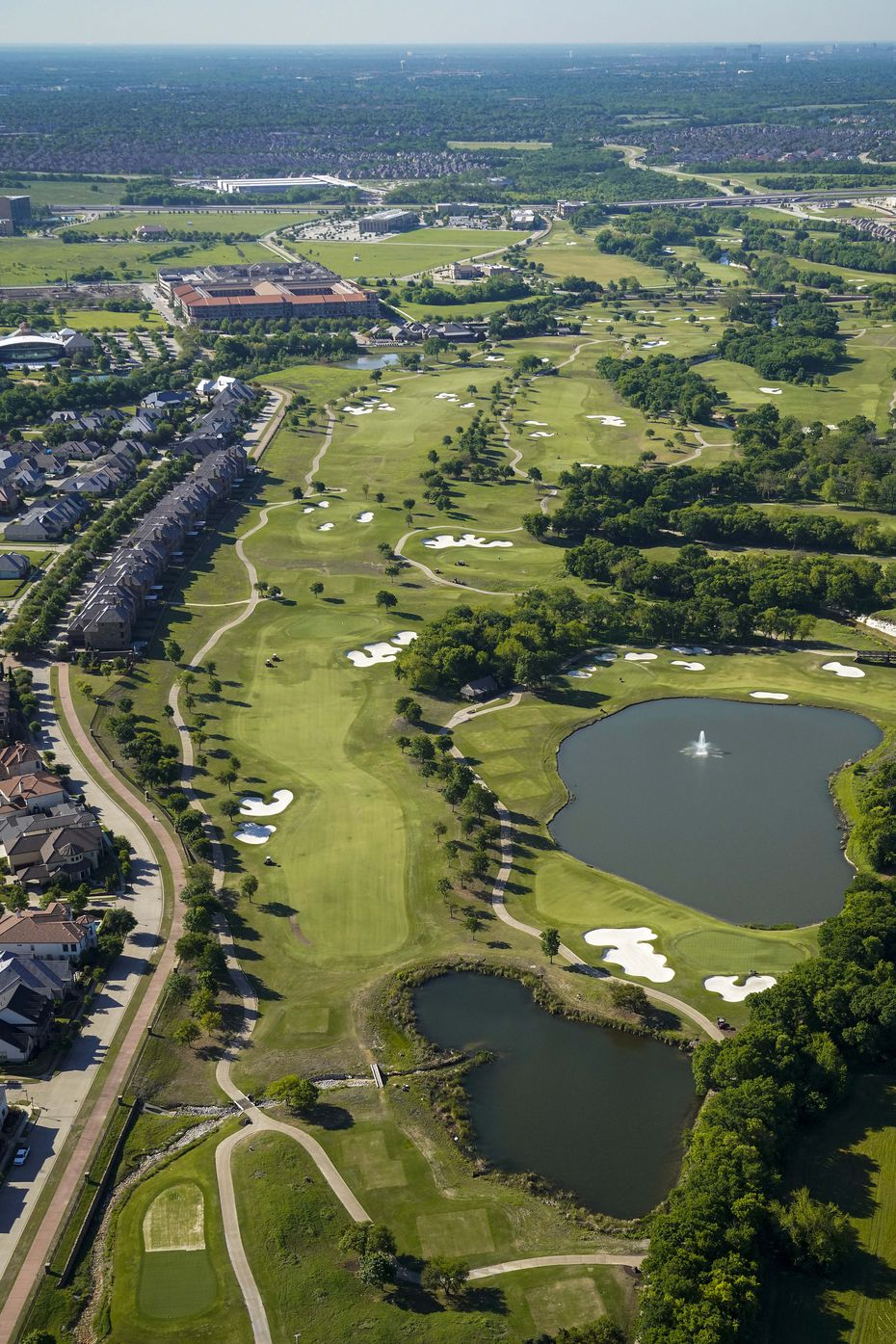 FILE - An aerial view of TPC Craig Ranch golf course on Thursday, April 16, 2020, in McKinney.