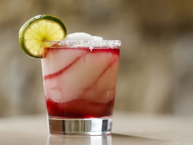 The Jalisco Twister frozen margarita with house made sangria is photographed Feb. 13, 2020, at Mi Dia from Scratch restaurant in Plano.