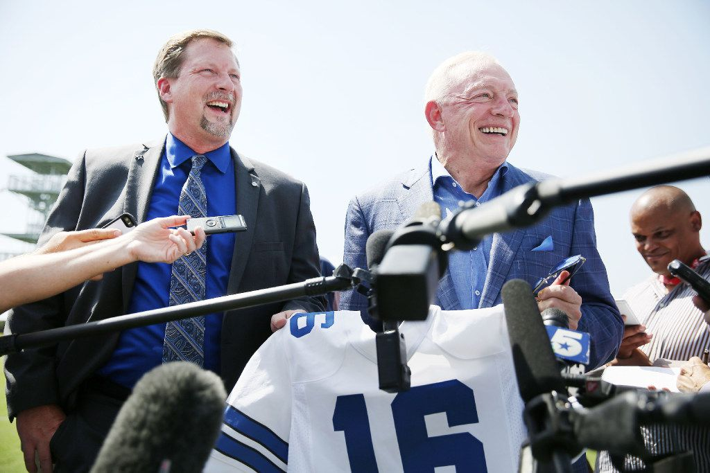 Dallas Cowboys owner Jerry Jones (right) and Treg Manning, Airbus Helicopters vice president of sales and marketing, spoke to reporters Thursday after unveiling the Cowboys' new corporate helicopter at the team's headquarters in Frisco.