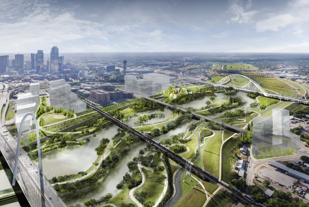 A digital, conceptual rendering of the Trinity River Plan introduced May 20, 2016. This view shows a one-year flood event.