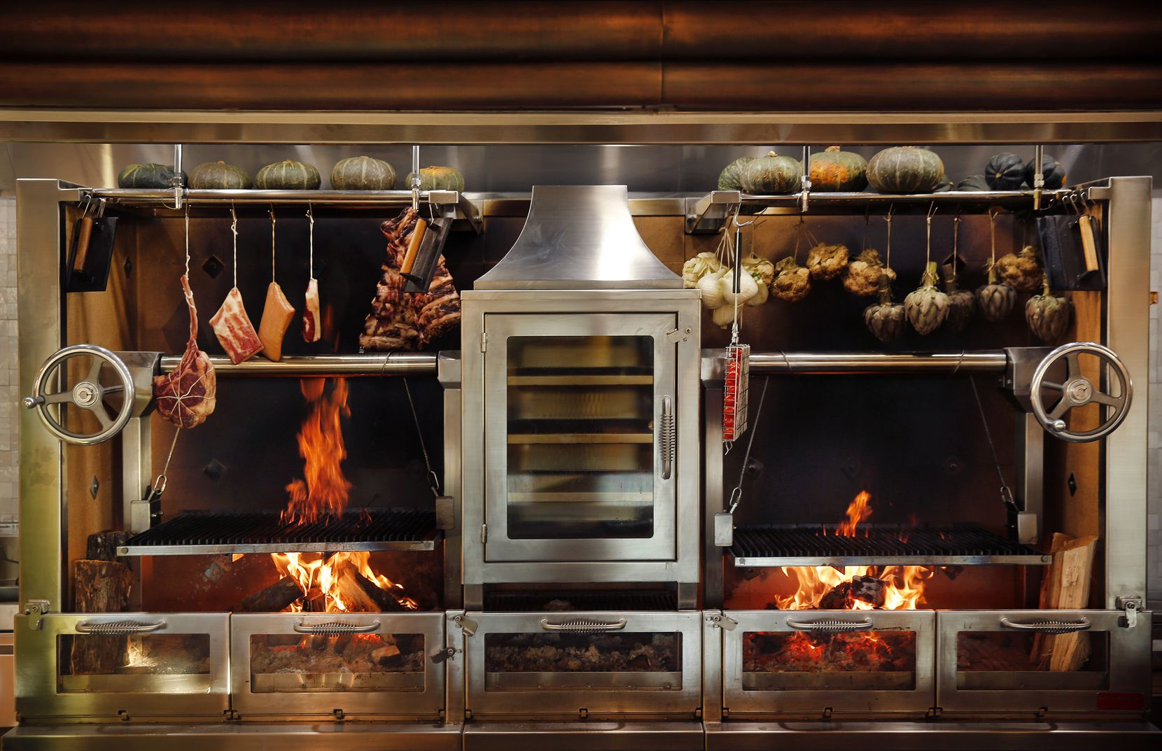 Most of the dishes at Eataly restaurant Terra are cooked on its open-hearth fire and grill.