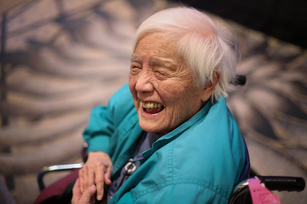 In this Feb. 25, 2014, photo, long-time activist Grace Lee Boggs speaks to a crowd gathered for the Environmental Grantmakers Association conference in Detroit. Boggs, known as an international activist for justice, died at her Detroit home. She was 100.