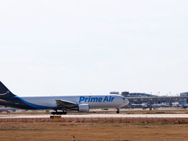 An Amazon Prime Air plane at DFW International Airport earlier this year.