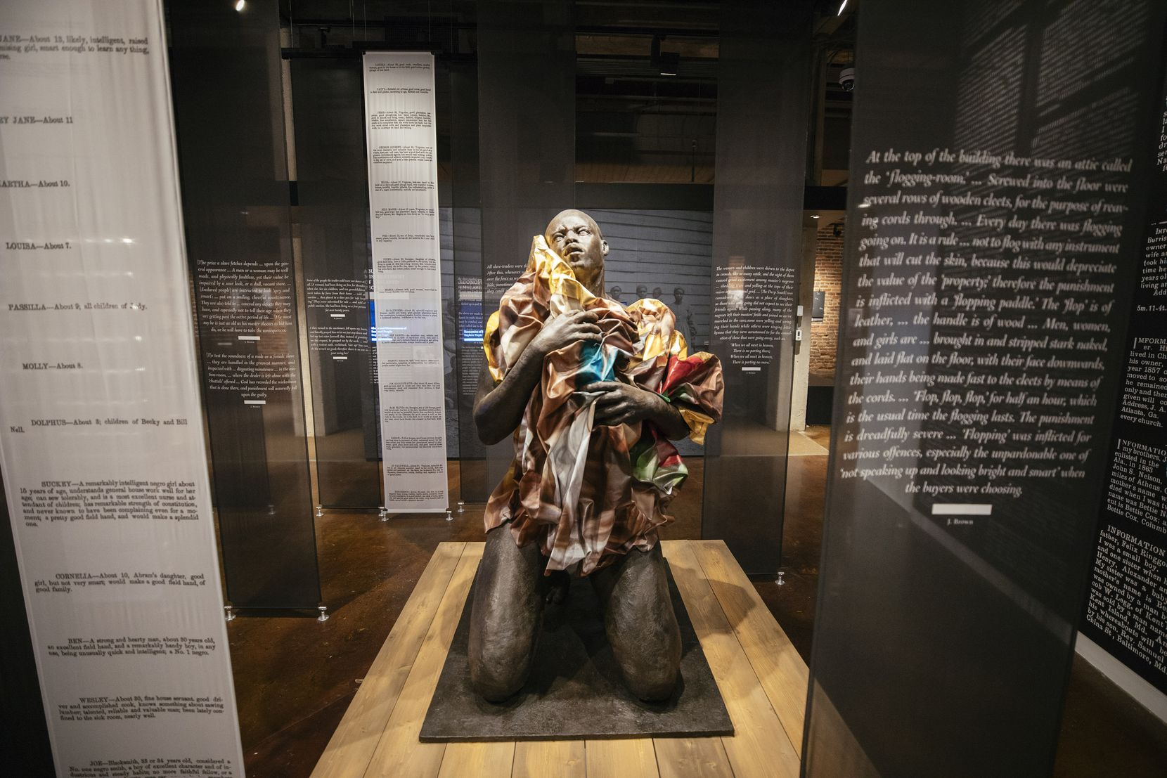 Doubt by Titus Kaphar sits amid accounts of slaves and former slaves at the Legacy Museum in Montgomery, Ala.