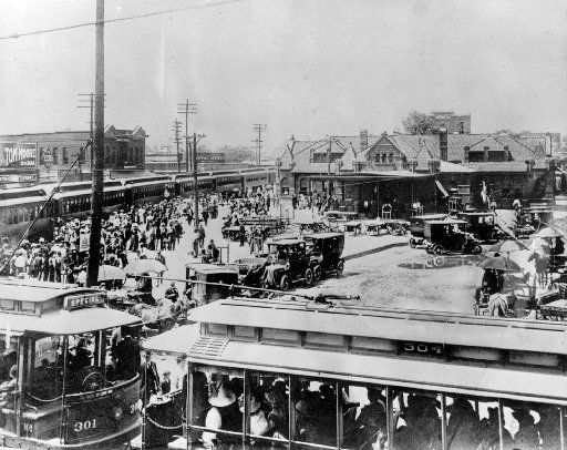 The train depot, circa 1908, that's now the current-day site of Pacific Avenue and Interstate 345