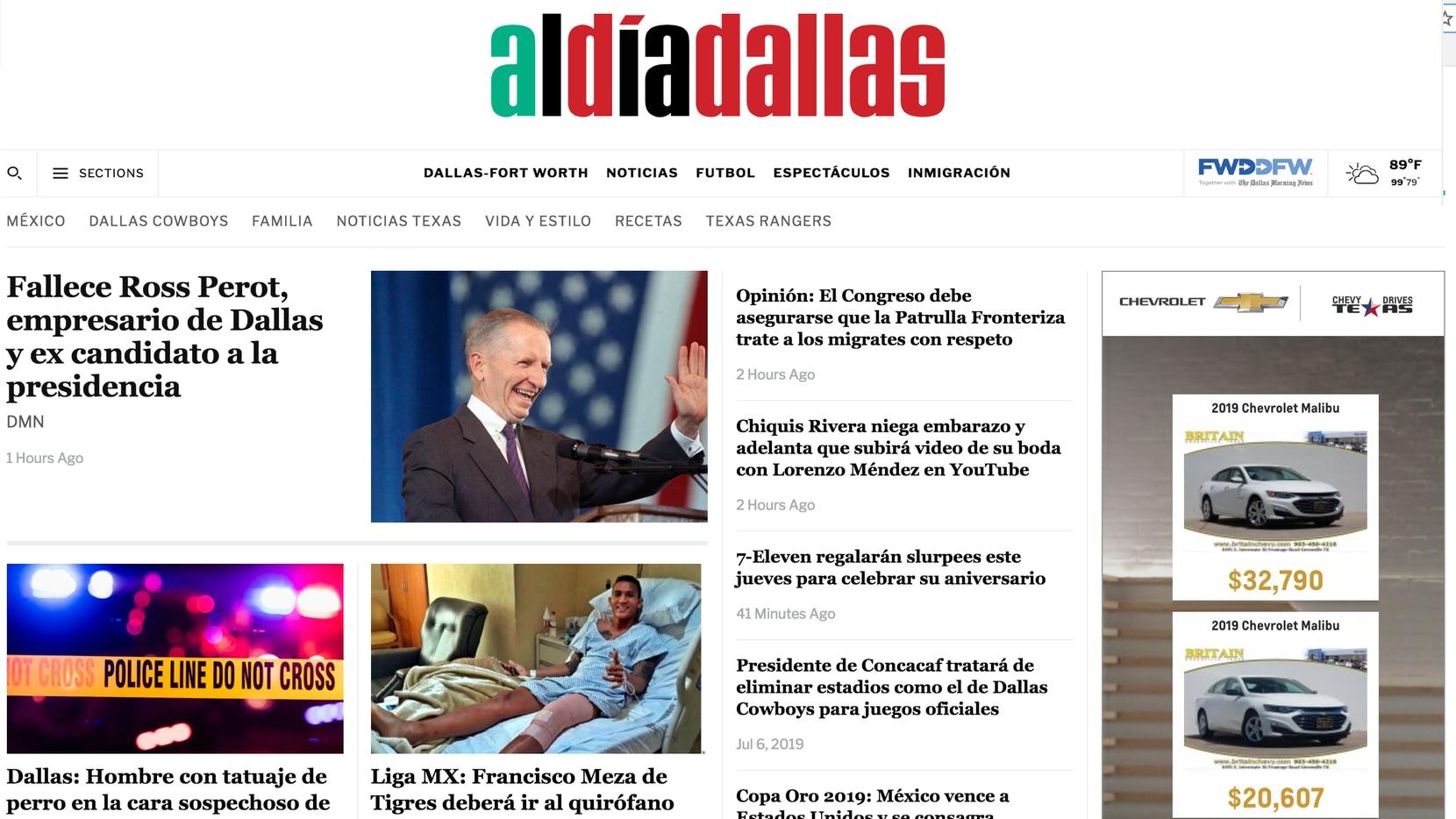 La nueva página de Al Día en internet