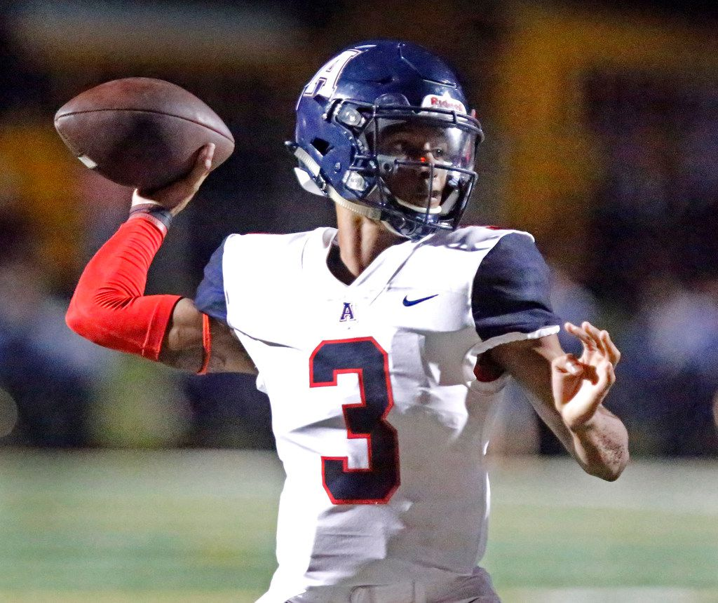 Allen High School quarterback Raylen Sharpe (3) throws a pass during the first half as Plano High School hosted Allen High School in a District 9-6A football game at Clark Stadium in Plano on Friday night, September 20, 2019.