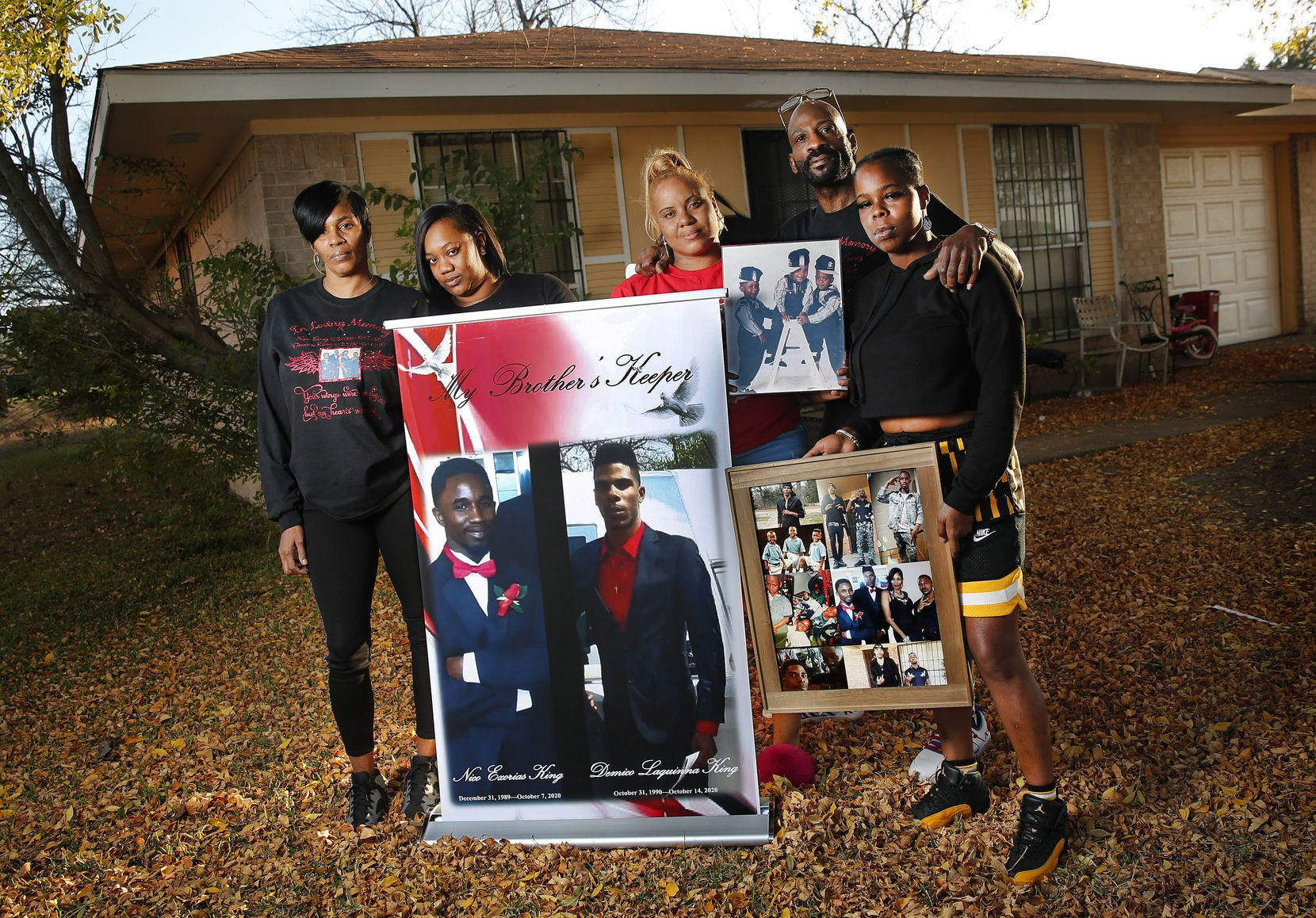 Antanique Johnson (left) and Richard King (second from right), who lost their sons Demico and Nico King last month, pose with photos of them outside their Dallas home, Thursday, November 19, 2020. Joining them from left are their cousins Kelsey Johnson, Chardondra Johnson and Antanique Ray. The two were shot on the same day and died within 10 days of each other.