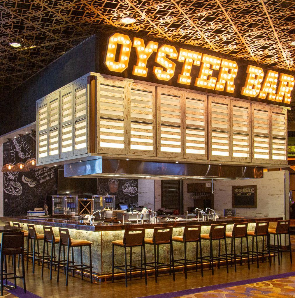 The Oyster Bar at Hard Rock Hotel is impossible to miss.