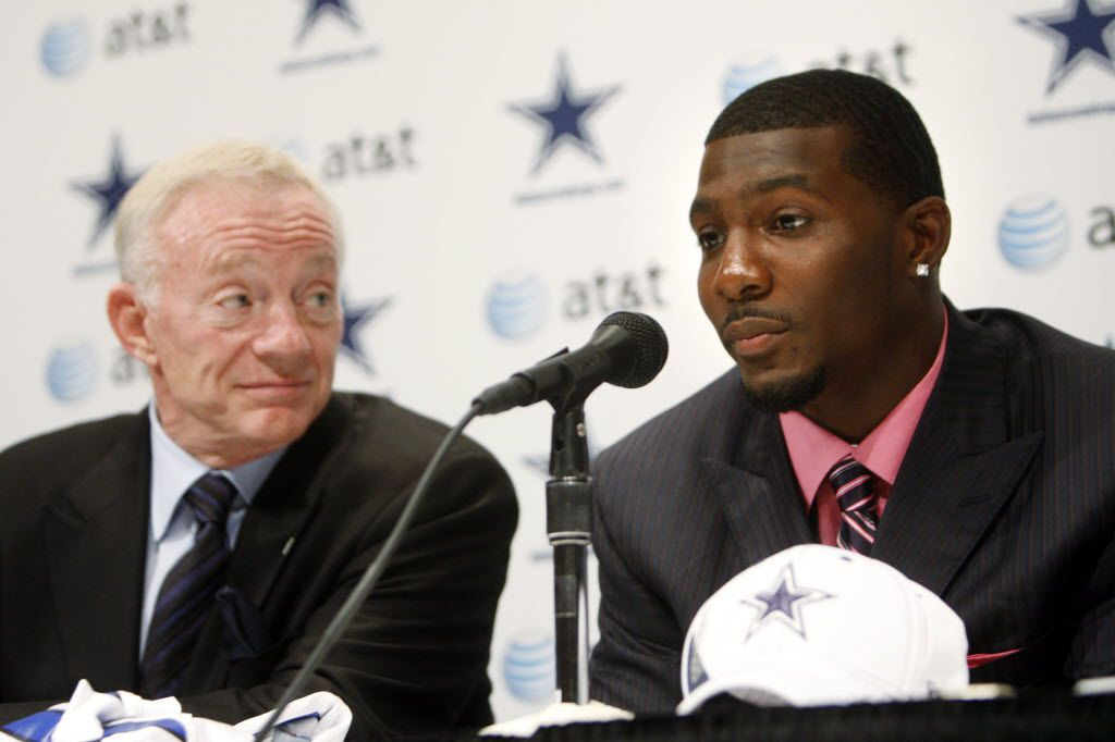 Dallas Cowboys first round draft pick Dez Bryant answers questions as Cowboys owner Jerry Jones listens during a press conference at Valley Ranch in Irving on April 23, 2010. (Vernon Bryant/The Dallas Morning News) MANDATORY CREDIT, NO SALES, MAGS OUT, TV OUT, INTERNET USE BY AP MEMBERS ONLY