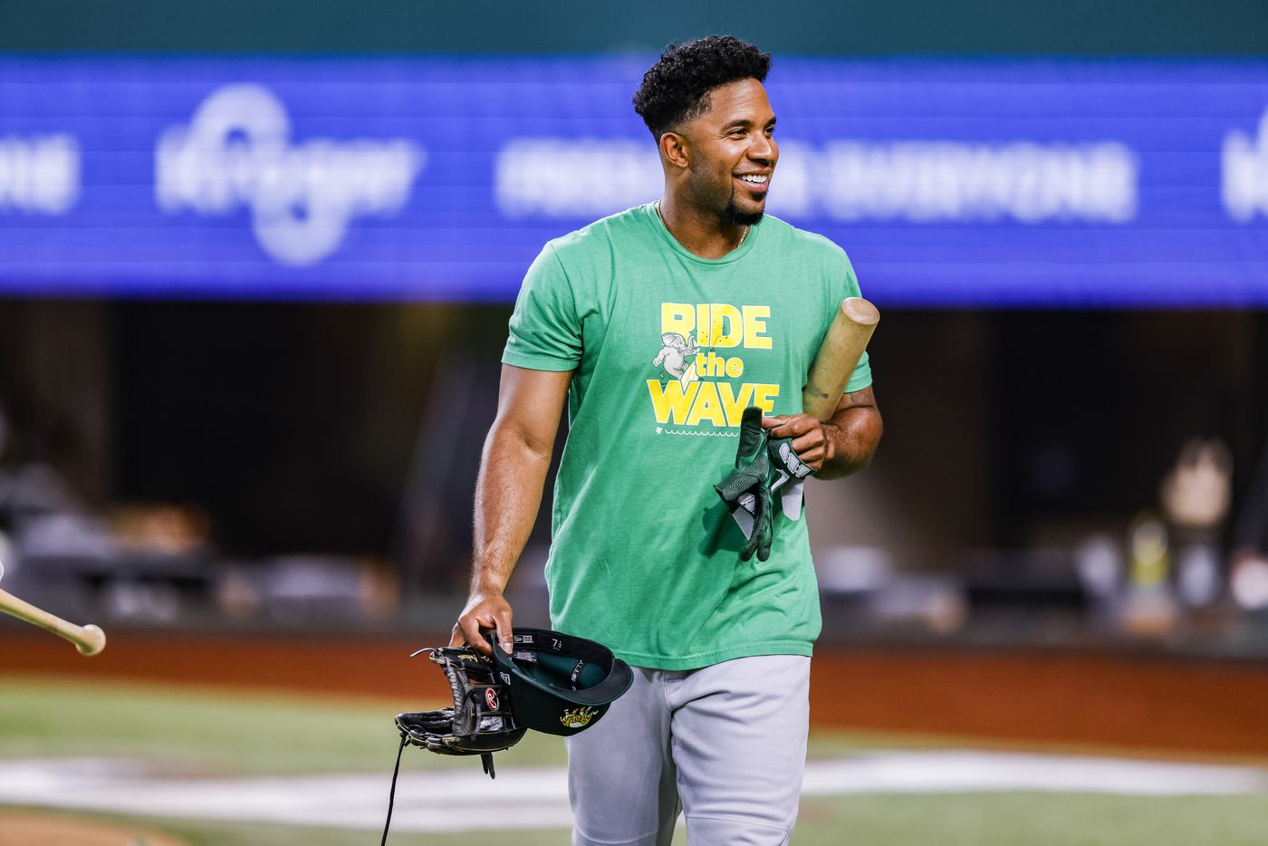 Oakland Athletics shortstop Elvis Andrus looks on during batting practice before a game against Texas Rangers in Arlington, Monday, June 21, 2021. (Brandon Wade/Special Contributor)