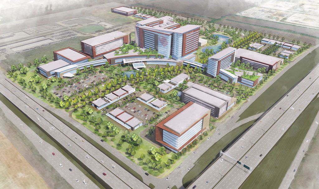A conceptual rendering of a new medical campus in Prosper, planned by Dallas-based Children's Health. It would the fourth children's facility within an 8-mile radius of Frisco City Hall.