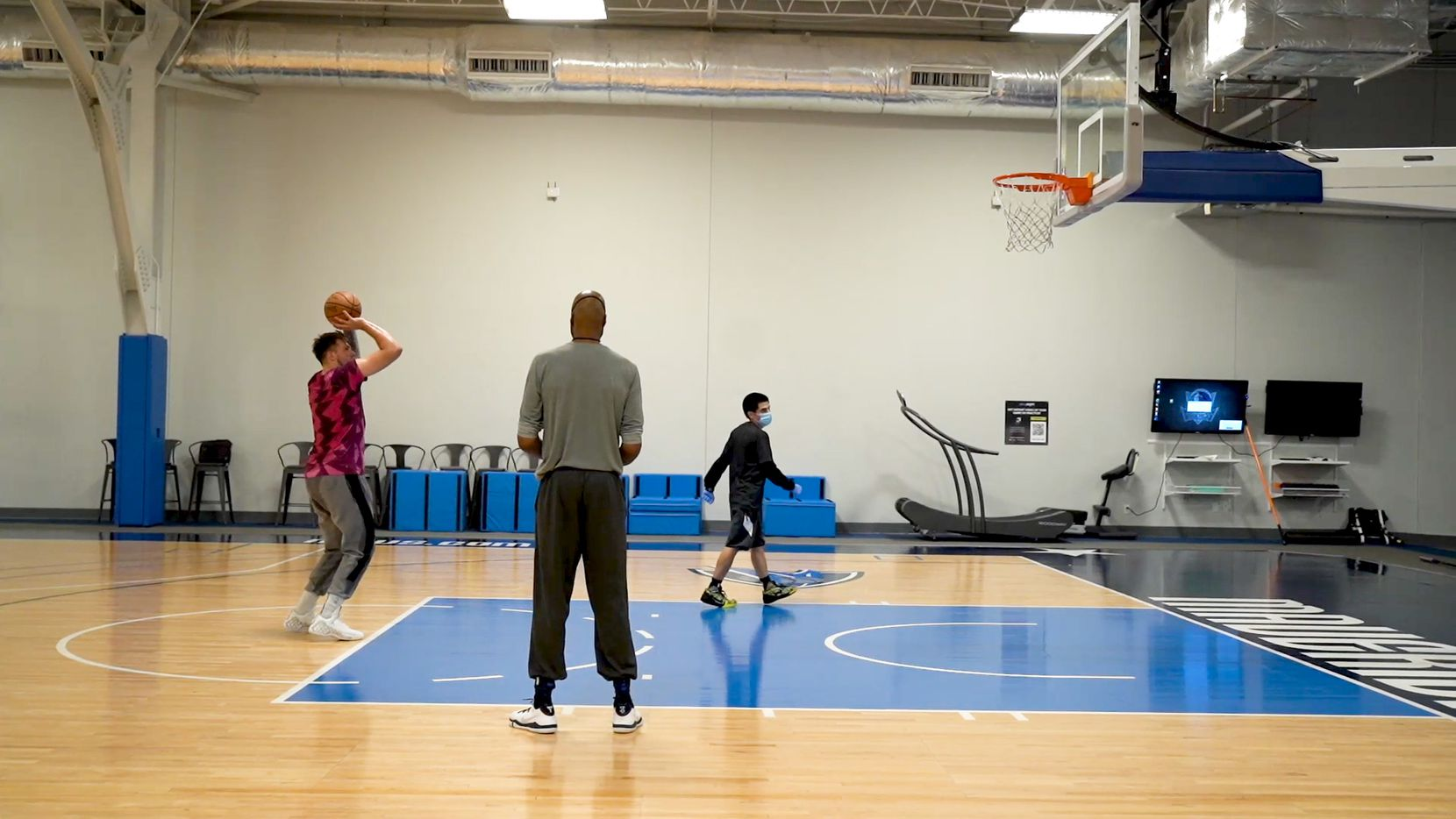 Dallas Mavericks guard Luka Doncic practices free throws from the first mandatory workout on July 1, 2020. Doncic and others played at the team's practice facility for the first time since the coronavirus pandemic started in Dallas, Tex.  (Photo courtesy Dallas Mavericks)