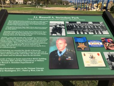A marker at Lt. Russell A. Steindam Park in Plano details the life of its namesake. Lt. Steindam died in 1970, at age 24, after he fell on a grenade on a Vietnam war field to save his fellow soldiers. He was posthumously awarded the medal.