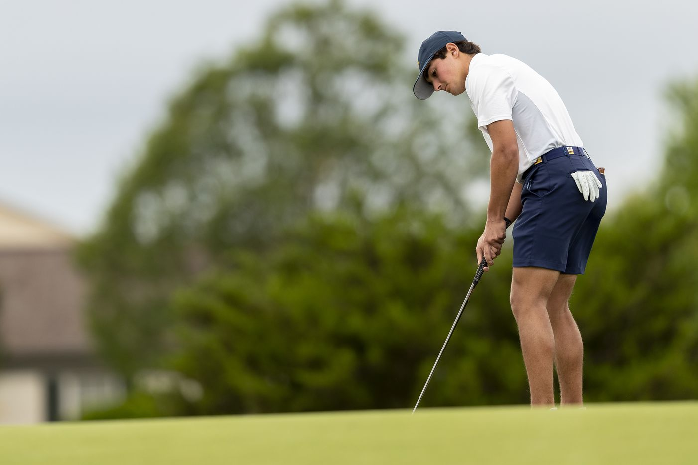 Highland ParkÕs Hudson Weibel putts on the 11th green during round 1 of the UIL Class 5A boys golf tournament in Georgetown, Monday, May 17, 2021. (Stephen Spillman/Special Contributor)