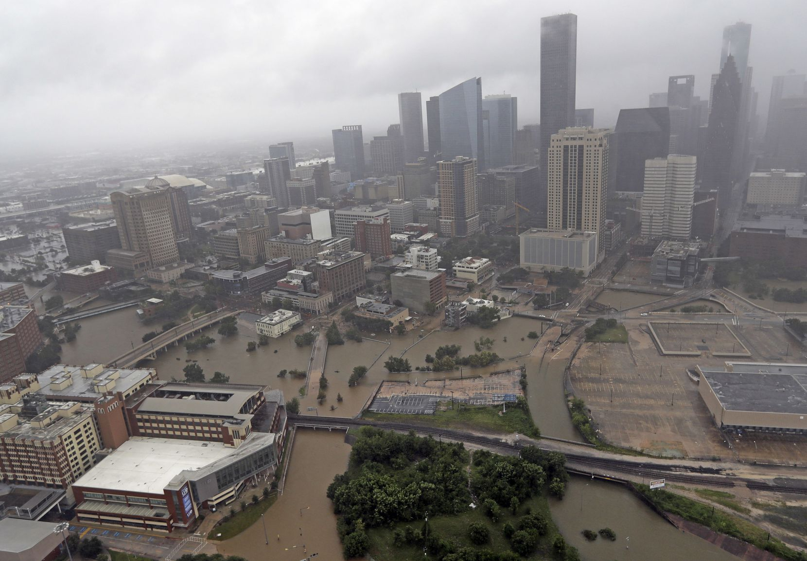 Highways around downtown Houston are empty as floodwaters from Tropical Storm Harvey overflow from the bayous around the city Tuesday, Aug. 29, 2017, in Houston.