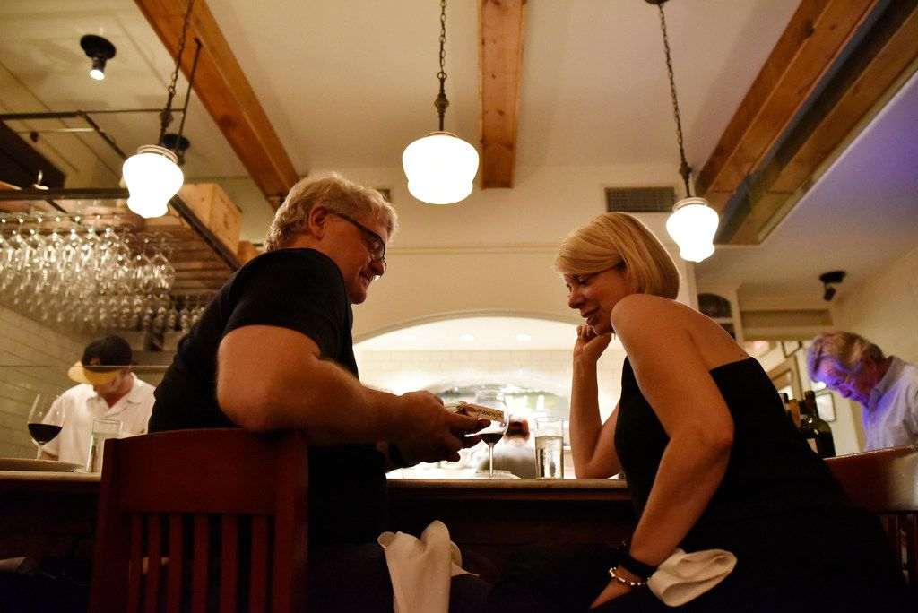 Ed Arlin, 61, and Deb Greenman, 57, both of Dallas, have a glass of wine after dinner at Lucia restaurant in the Bishop Arts district of Dallas, Saturday, Feb. 02, 2019. Ben Torres/Special Contributor