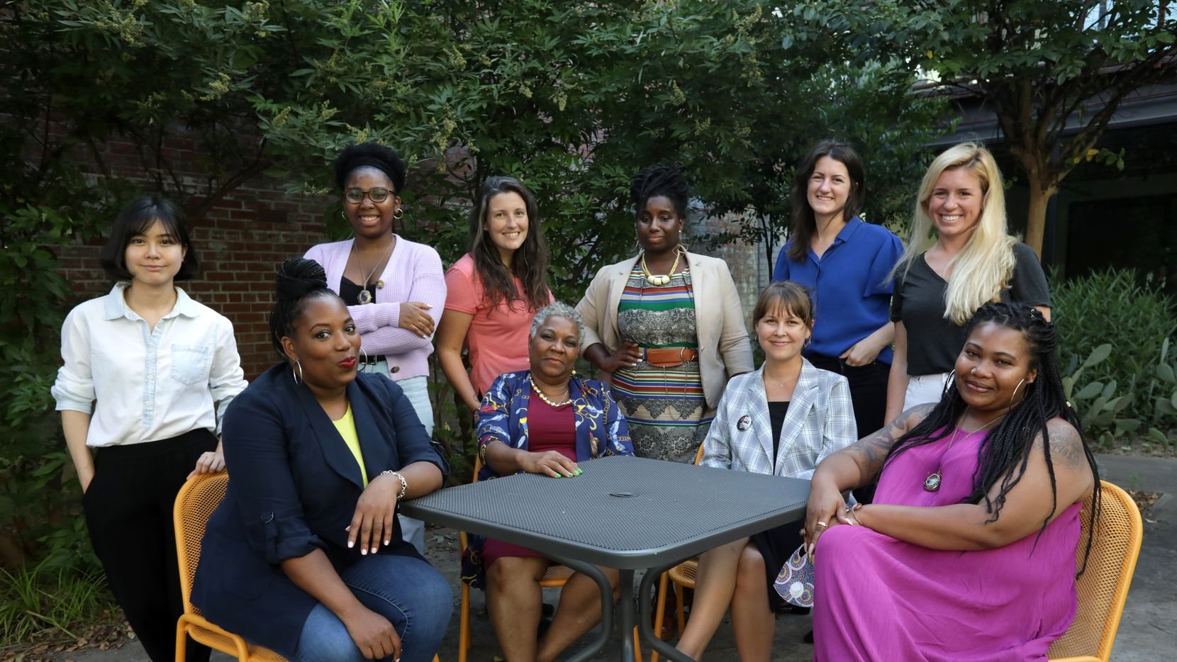 Members of Downwinders at Risk board. Front row from left, Satavia Hopkins, Marsha Jackson, Evelyn Mayo and Misti O'Quinn. Back row: Cindy Hua, Essence Tetteh, Amanda Poland, Cressanda Allen, Shannon Vorpahl and Michelle McAdam. Not shown: Amber Wang and Idania Carranza.