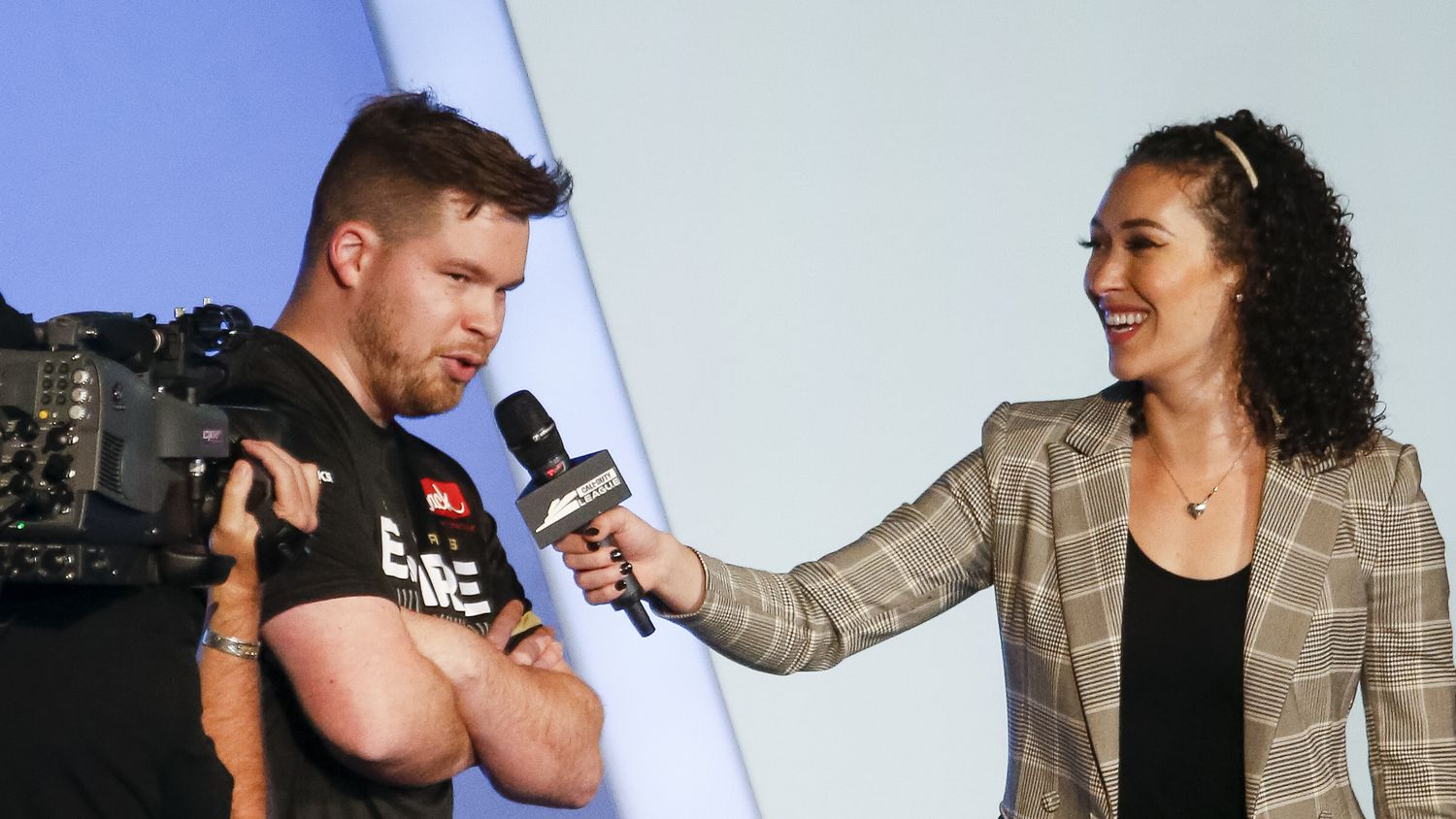"""Ian """"Crimsix"""" Porter (left) speaks with host  Ian """"Crimsix"""" Porter after defeating the Los Angeles Thieves during the Call of Duty League Major V tournament at Esports Stadium Arlington on Saturday, July 31, 2021, in Arlington."""