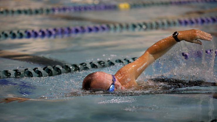 Peter Goodspeed swims laps at the Plano Oak Point Recreation Center.