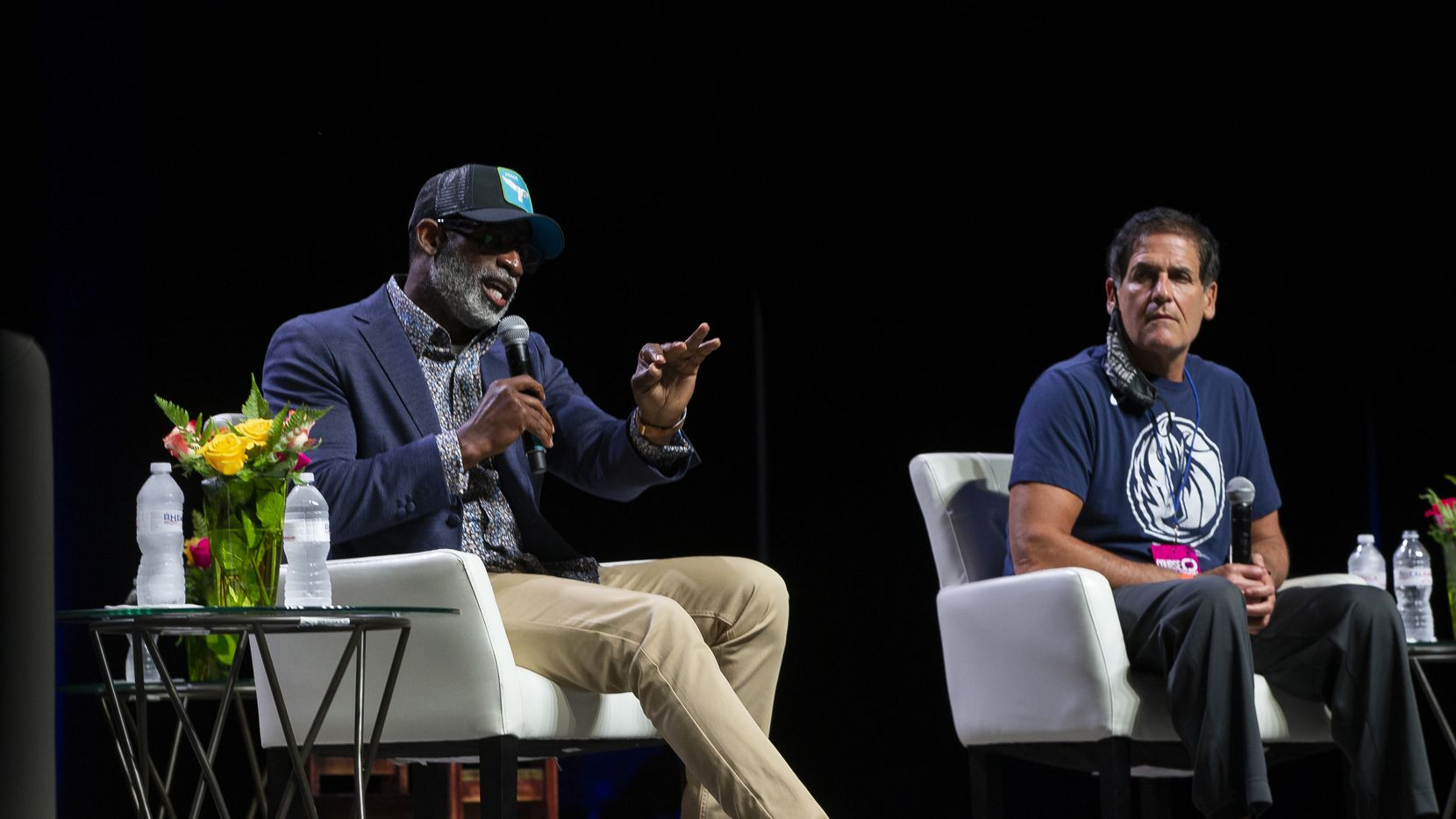 Deion Sanders and Mark Cuban speak at the Heal America panel at Gilley's in Dallas on Wednesday, June 24, 2020. The event held a conversation around racial relations in the United States in the wake of George Floyd's killing. (Juan Figueroa/The Dallas Morning News)