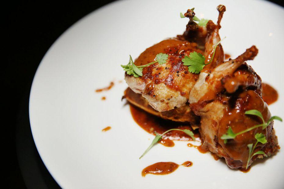 Stuffed quail on a waffle at LAW