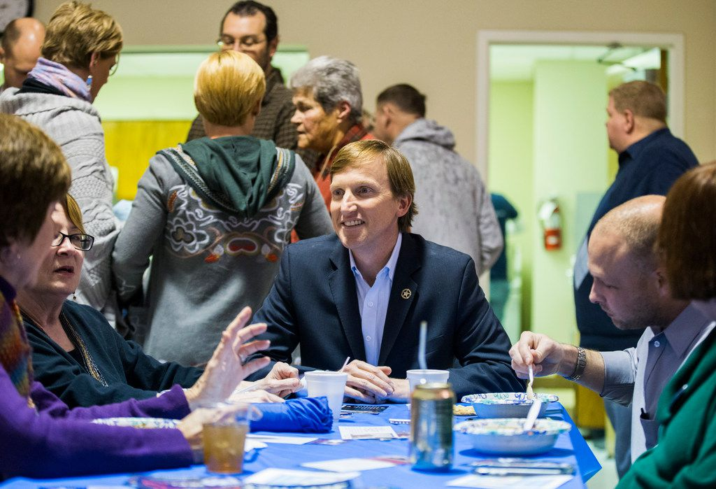 Gubernatorial candidate Andrew White talks with supporters at The Mid-Cities Democrats Gubernatorial Forum and Chili Dinner on Tuesday at the UAW 218 Union Hall in Hurst.