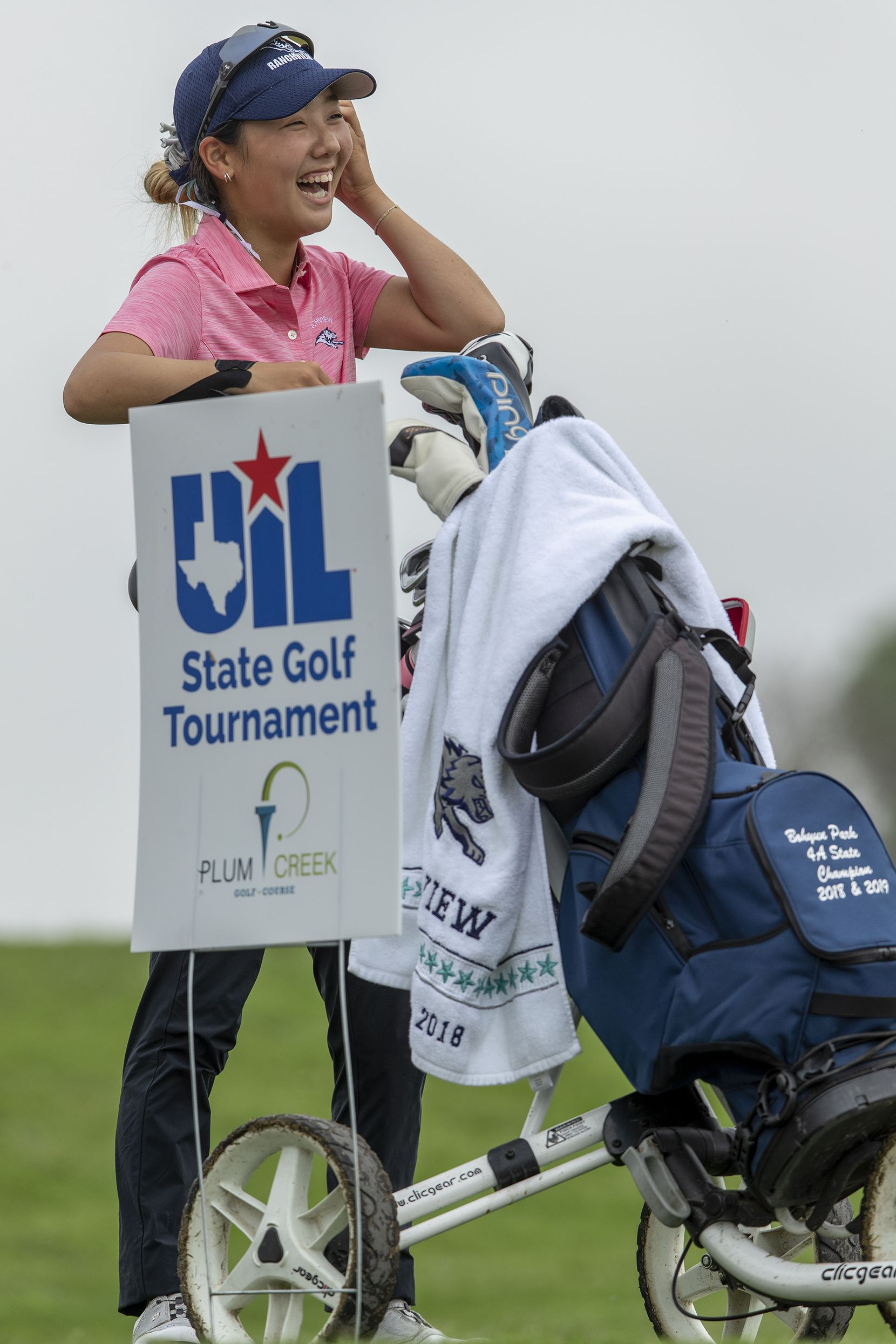 Carrollton Ranchview's Bohyun Park prepares to hit from the 10th tee box during the final day of the UIL Class 4A girls golf tournament in Kyle, Tuesday, May 11, 2021. (Stephen Spillman/Special Contributor)