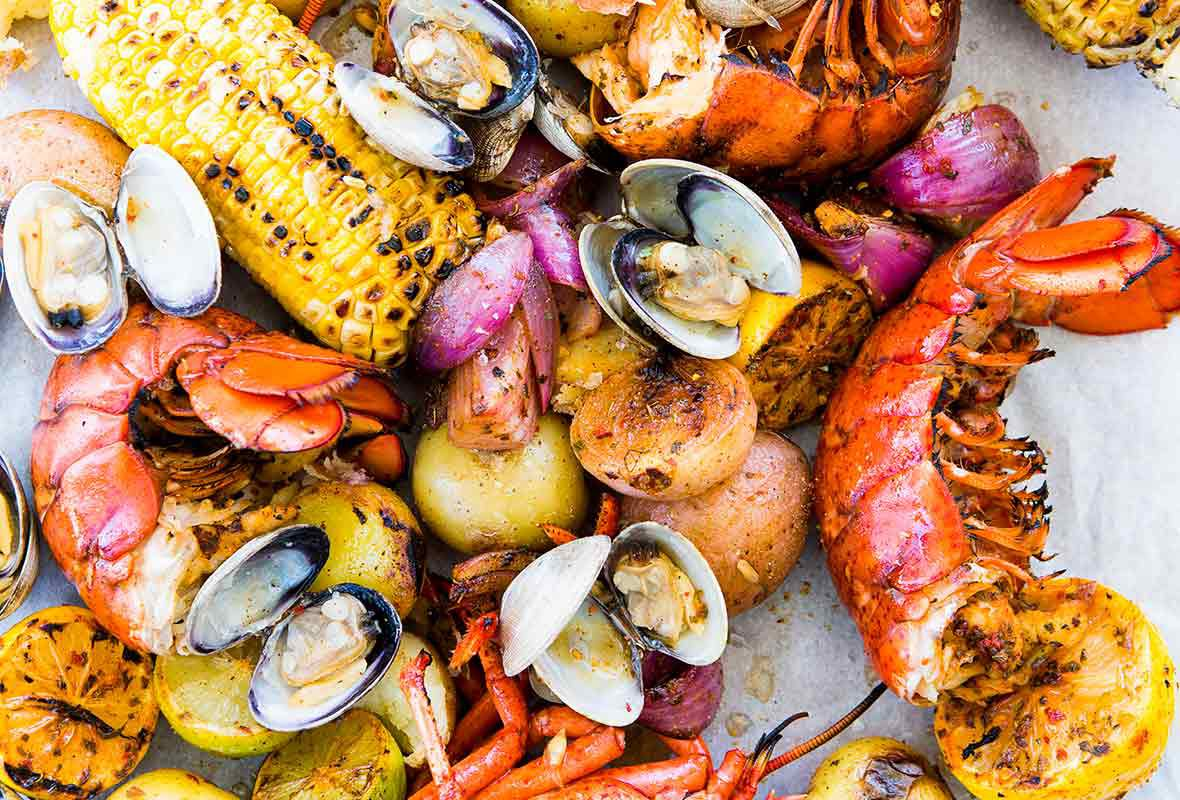 Dock Local at Legacy Hall offers a New England clam bake-at-home meal.