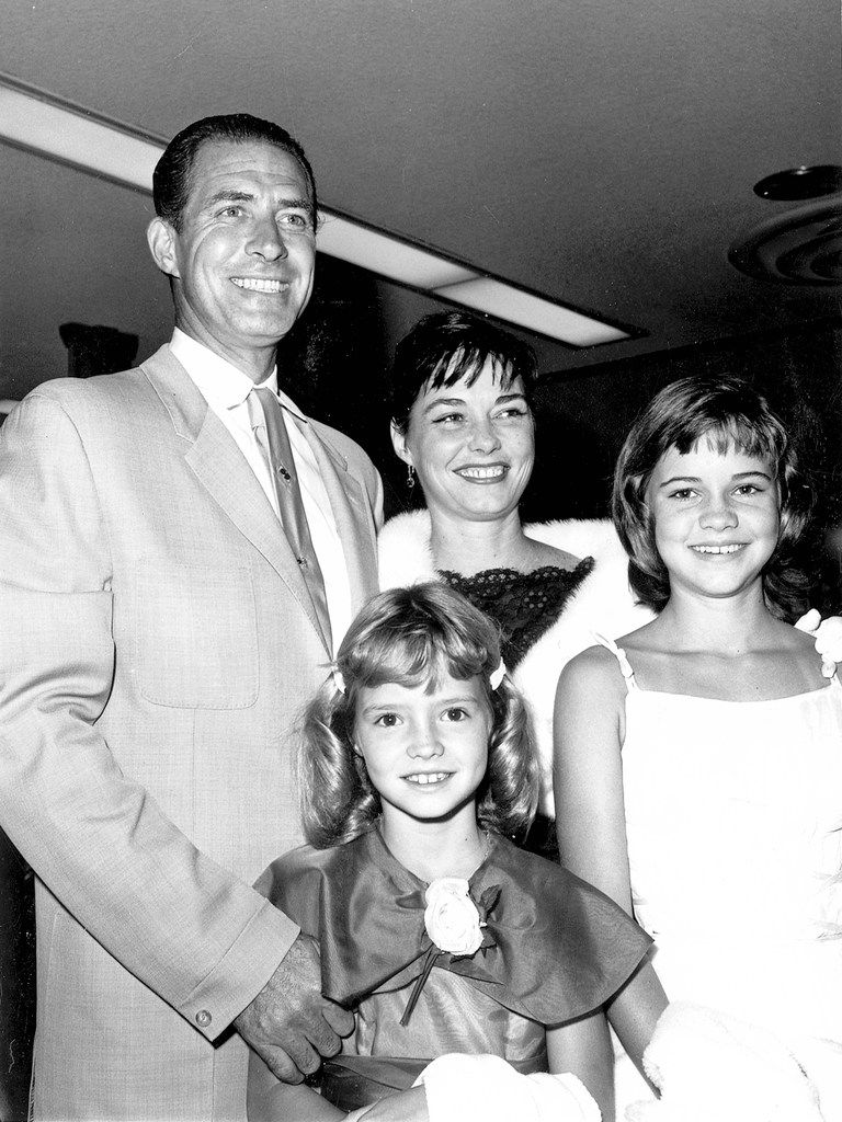 In a photo provided by Sally Field, right, Jock Mahoney, her stepfather; Margaret, her mother; and Princess, her younger half-sister.