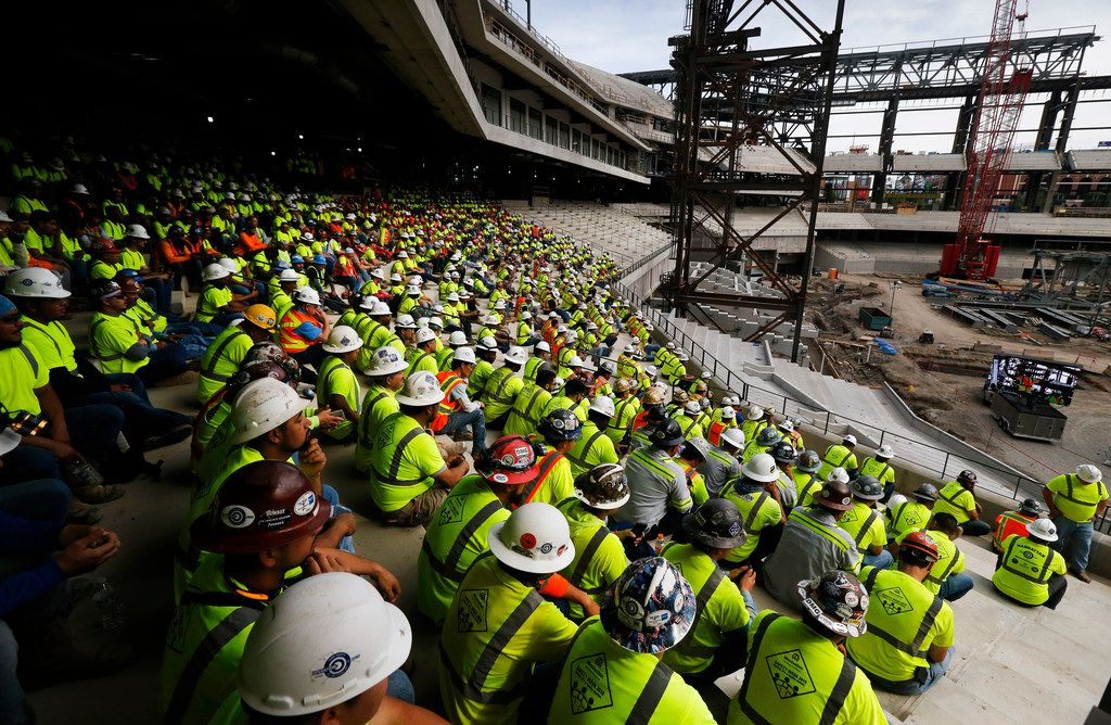 Construction workers building the new Rangers' Globe Life Field gathered to hear from Assistant Secretary of Labor for Occupational Safety and Health Loren Sweatt speak in Arlington on May 6, 2019.