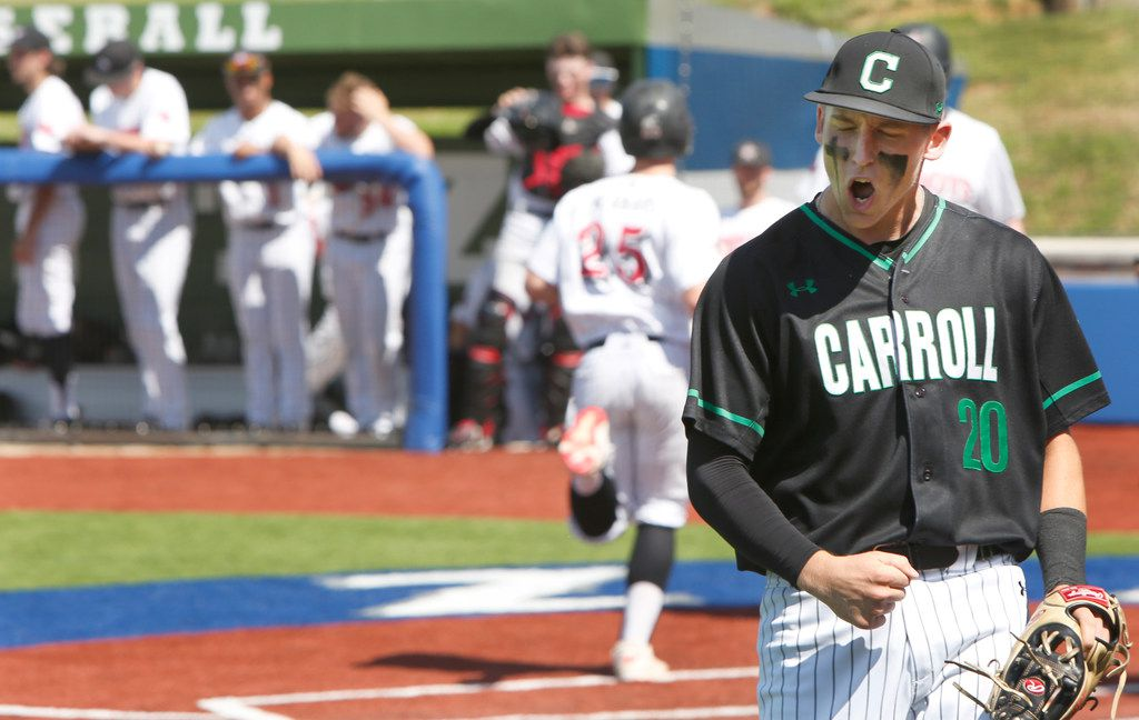 Southlake Carroll third baseman Cade Manning lets out a yell after snagging a high hopper and beating the Coppell batter with his off-balance throw to first base to end the bottom of the third inning during Carroll's 10-5 win Saturday.  (Steve Hamm/ Special Contributor)