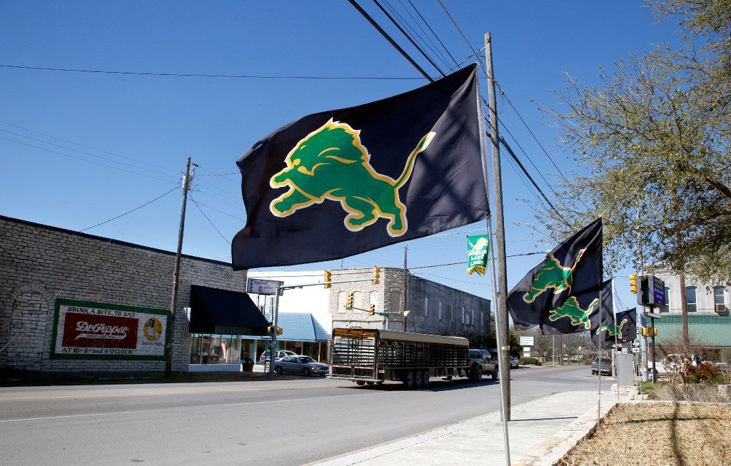 The town's link to Dr Pepper is visible all around, along with flags signaling that the Dublin High School Lions basketball team is in the playoffs. (Guy Reynolds/The Dallas Morning News)