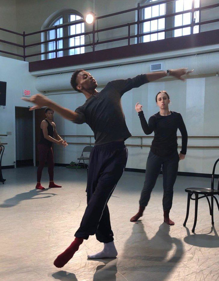 My'Kal Stromile demonstrates choreography for members of DBDT: Encore! The troupe is premiering his new work, Mirror of the Effigy.