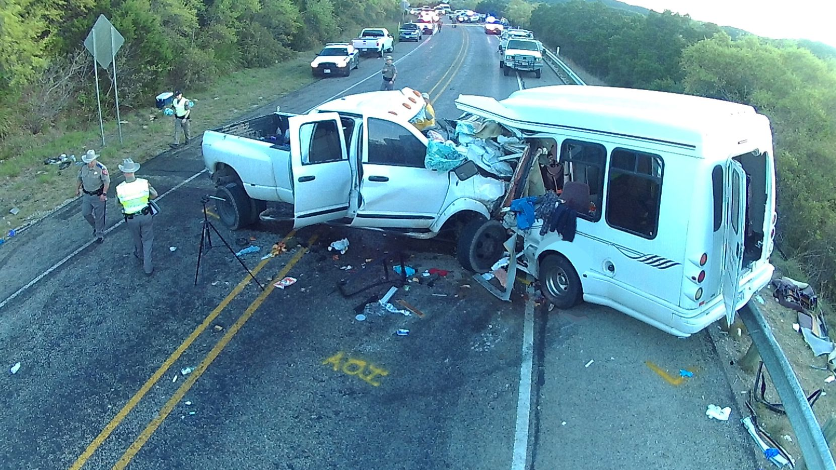 A view of the accident involving Jack Dillon Young's pickup and a bus carrying members of First Baptist New Braunfels. Thirteen people in the bus were killed.