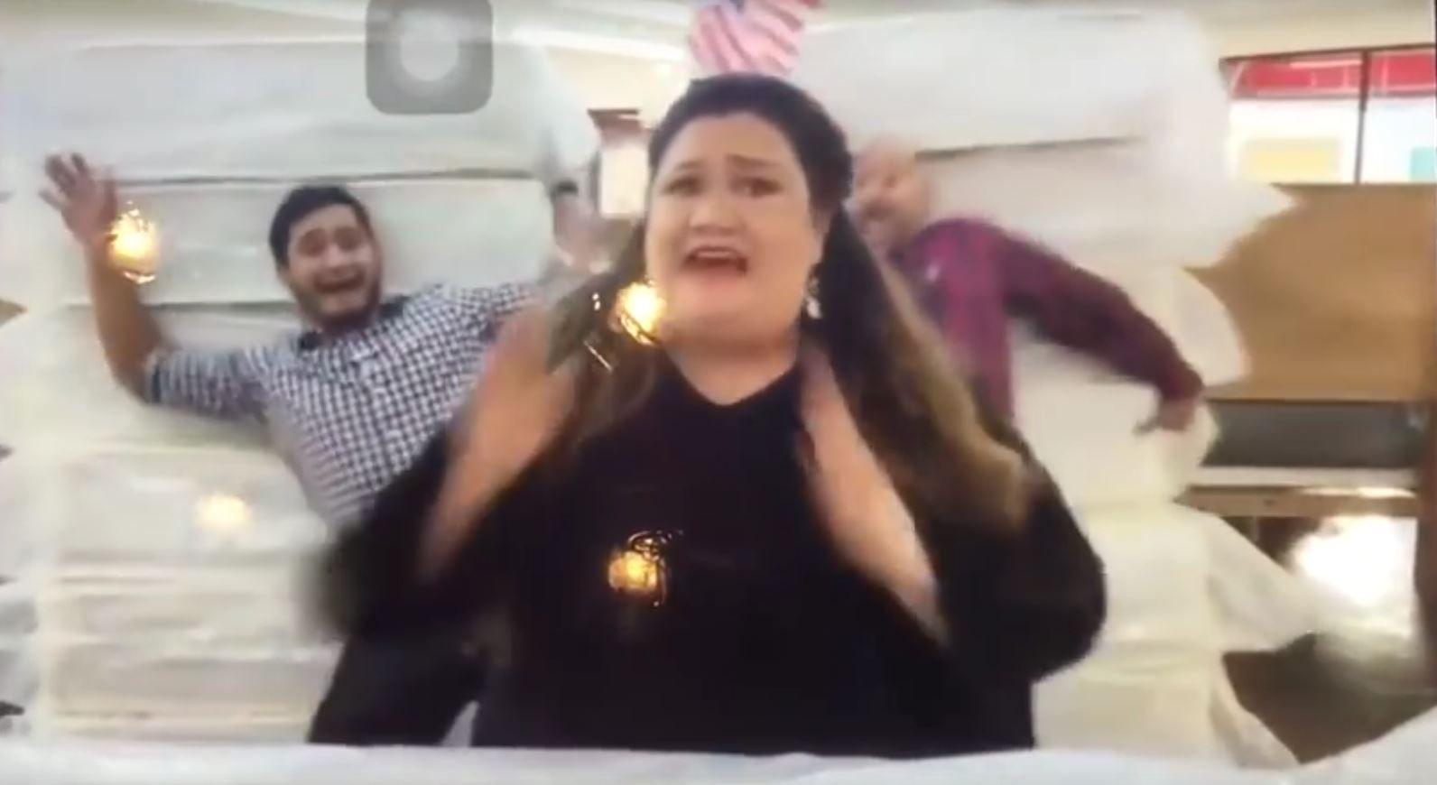 A video still of a terrorism-themed mattress company ad.