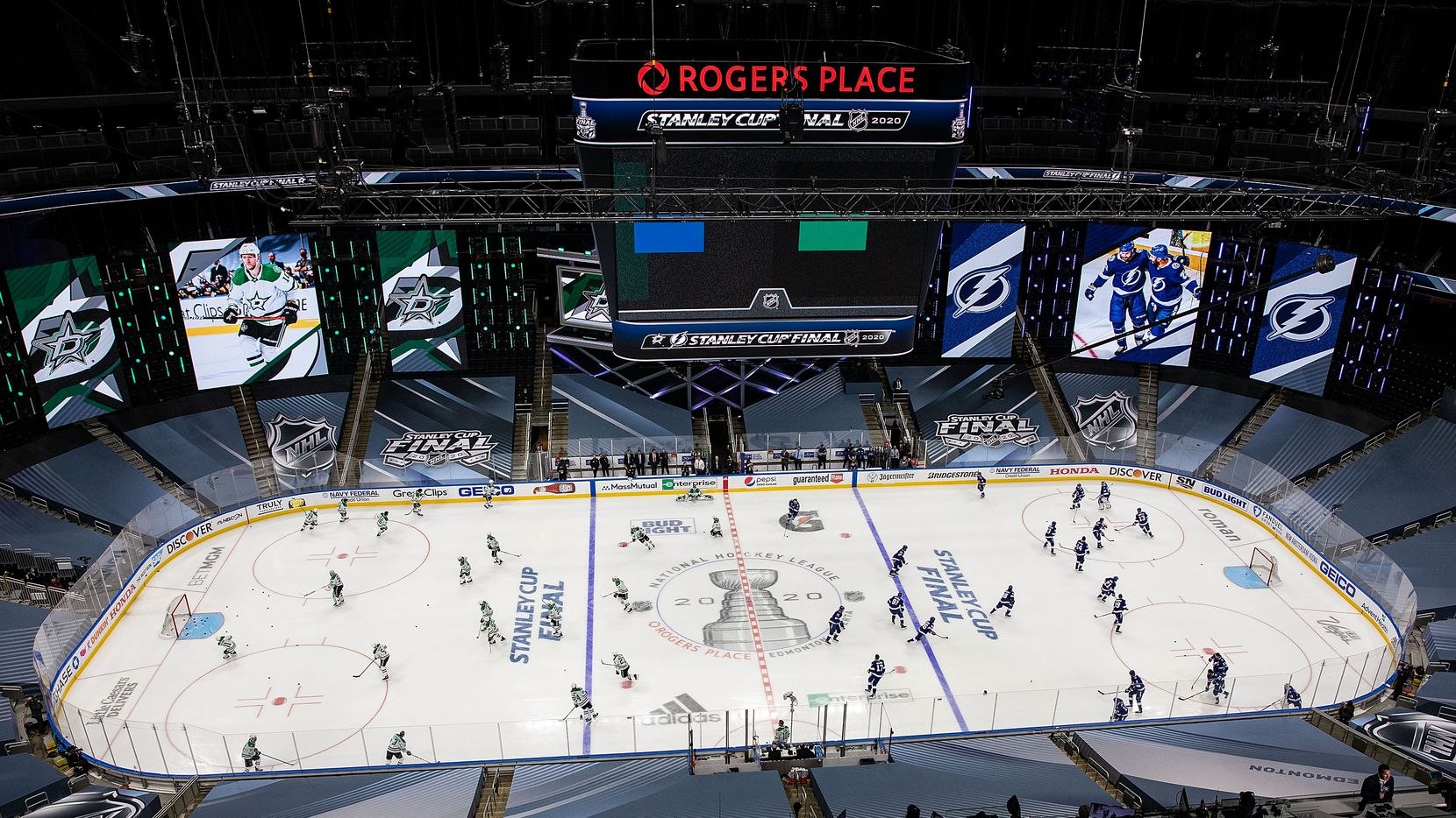 The Dallas Stars and the Tampa Bay Lightning warm up during Game One of the Stanley Cup Final at Rogers Place in Edmonton, Alberta, Canada on Saturday, September 19, 2020. (Codie McLachlan/Special Contributor)