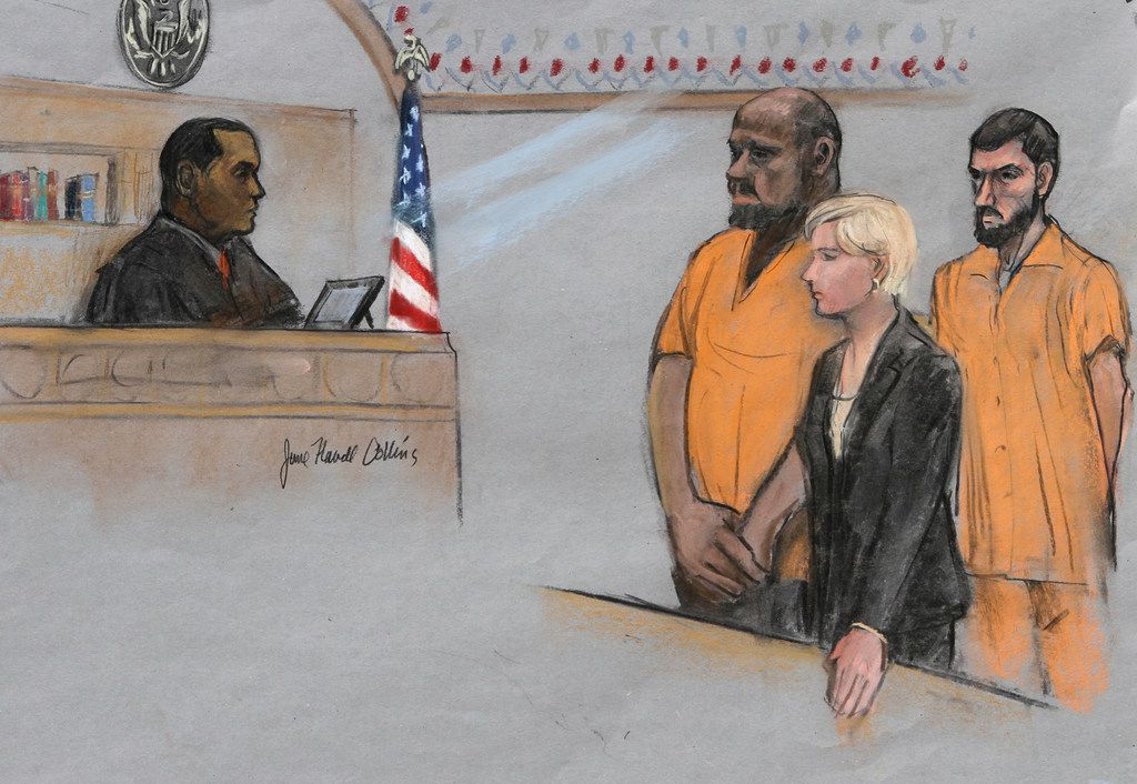 FILE - In this June 19, 2015, file, courtroom sketch, David Wright, second from left, is depicted standing before Magistrate Judge Donald Cabell, left, with attorney Jessica Hedges, second from right, and Nicholas Rovinski, right, during a hearing in federal court in Boston. Prosecutors will ask the judge on Tuesday, Dec. 19, 2017, in Boston to sentence 28-year-old Wright to life in prison for his role in the plot to kill Pamela Geller. The plot was never carried out.