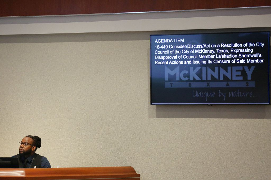 Councilman La'Shadion Shemwell listens during Wednesday's special meeting of the McKinney City Council.