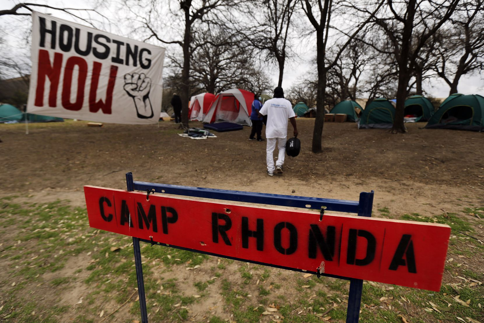 Between 30-40 people without housing setup Camp Rhonda adjacent to Pioneer Park Cemetery in downtown Dallas on Tuesday.  They are trying to bring awareness to the constant movement of unhoused people by the city and that they need some permanency for the ongoing issue.