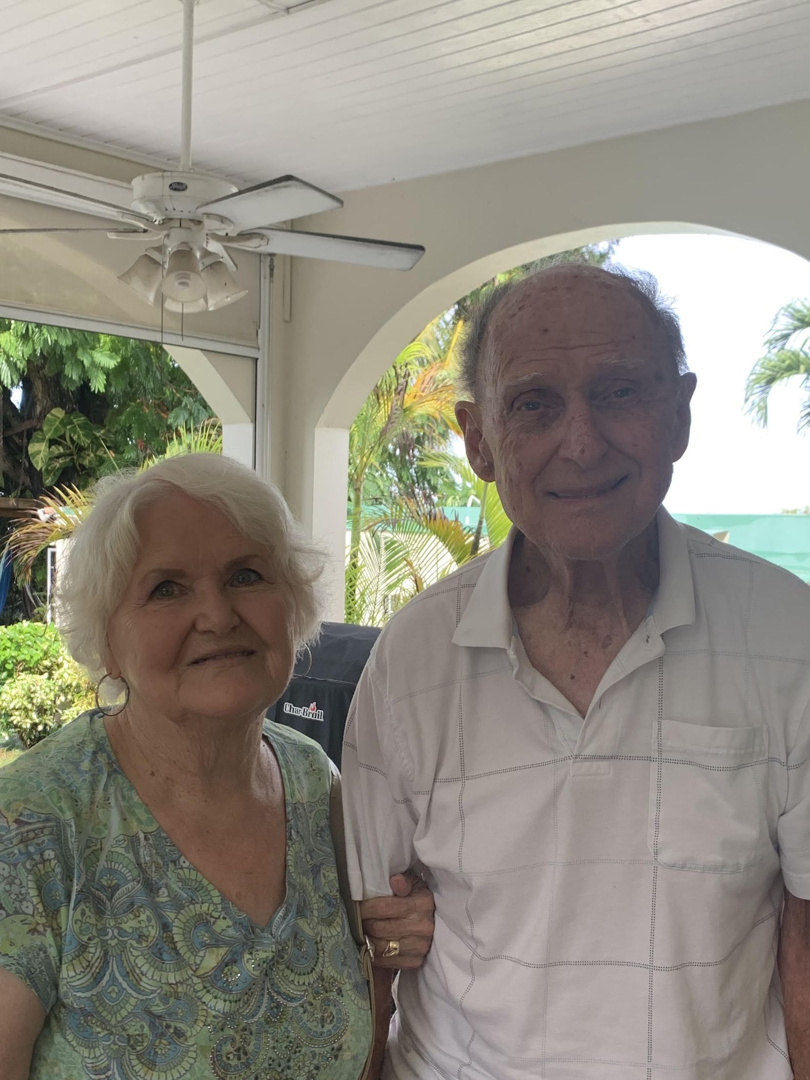 Bonnie and Bill Jennings, of Arlington traveled to Barbados on American Airlines in early March to visit their daughter and son-in-law, who live there year round. The elderly couple became stranded when the coronavirus pandemic led Barbados to shut down its borders. They expect to finally get to return to North Texas next week.