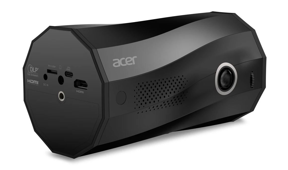 The Acer C250i portable projector has a unique design that can project vertically or horizontally without a tripod.