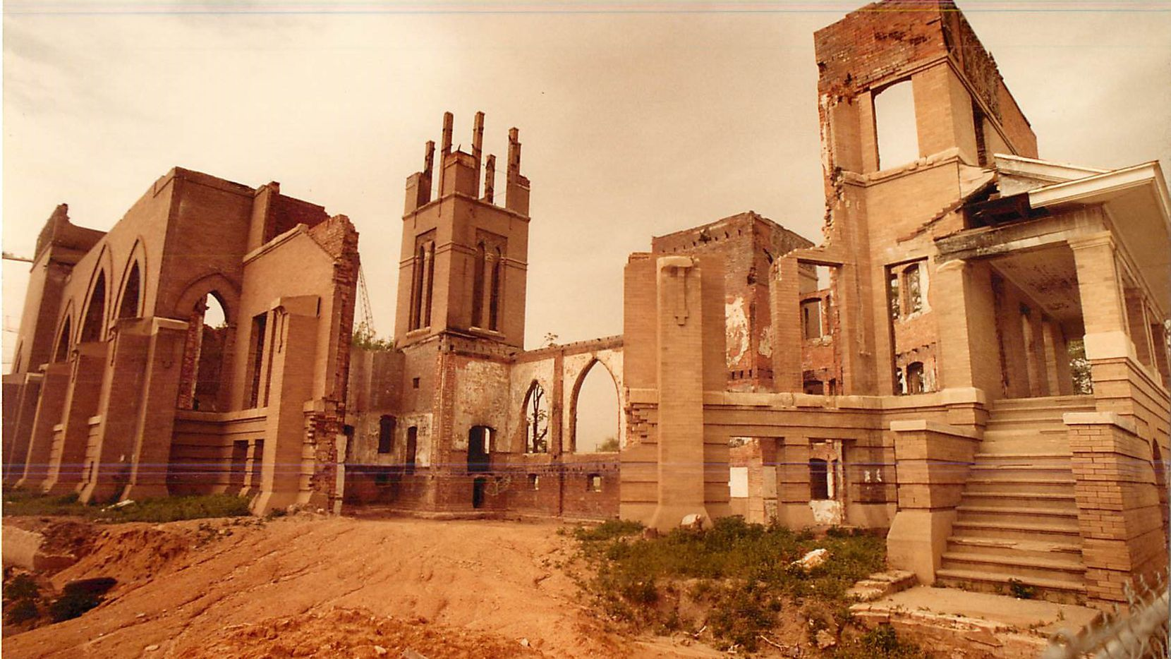 A 1981 fire gutted the Historic Trinity Methodist Church, April 11, 1984.
