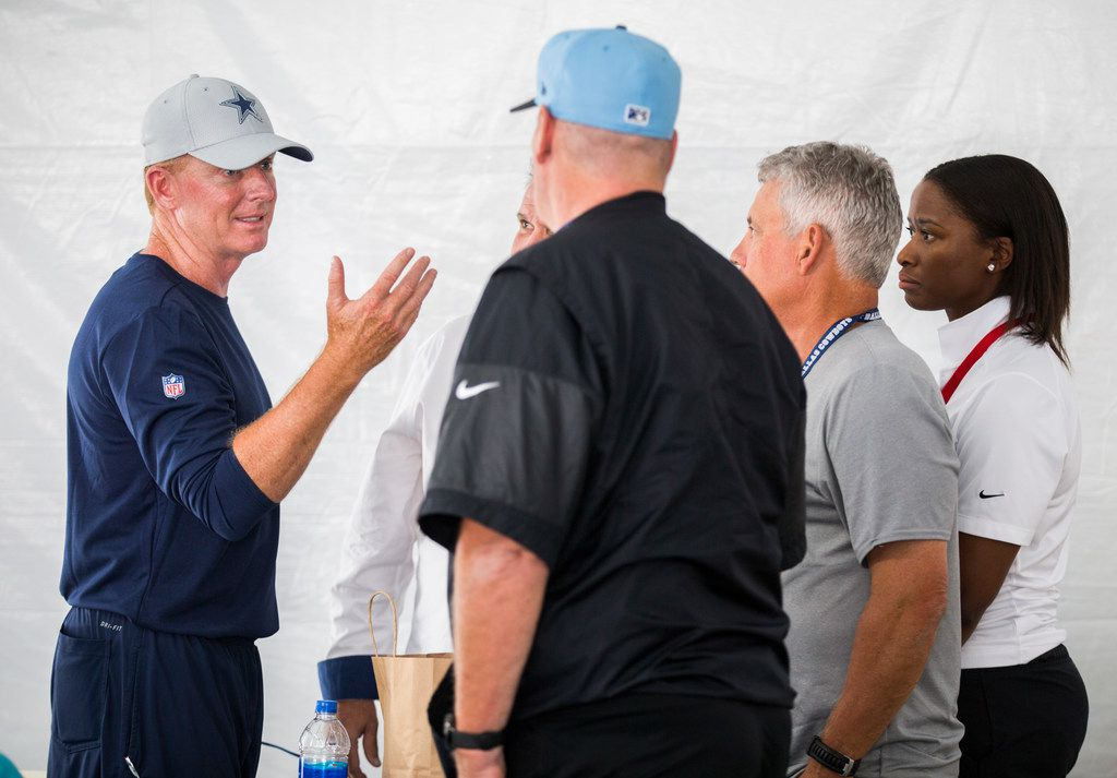 Dallas Cowboys head coach Jason Garrett talks with NFL Officials before an afternoon practice at training camp in Oxnard, California on Friday, August 2, 2019. NFL Referee Tony Corrente and other officials were on hand to answer questions about new rules. (Ashley Landis/The Dallas Morning News)