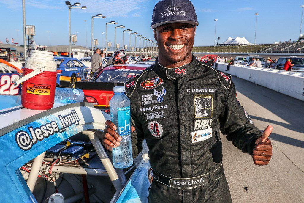 Former Hebron football player Jesse Iwuji is trying to make it as a professional stock-car driver. He currently competes in the NASCAR K&N Pro Series West, a regional division of NASCAR. (Courtesy/Jesse Iwuji)