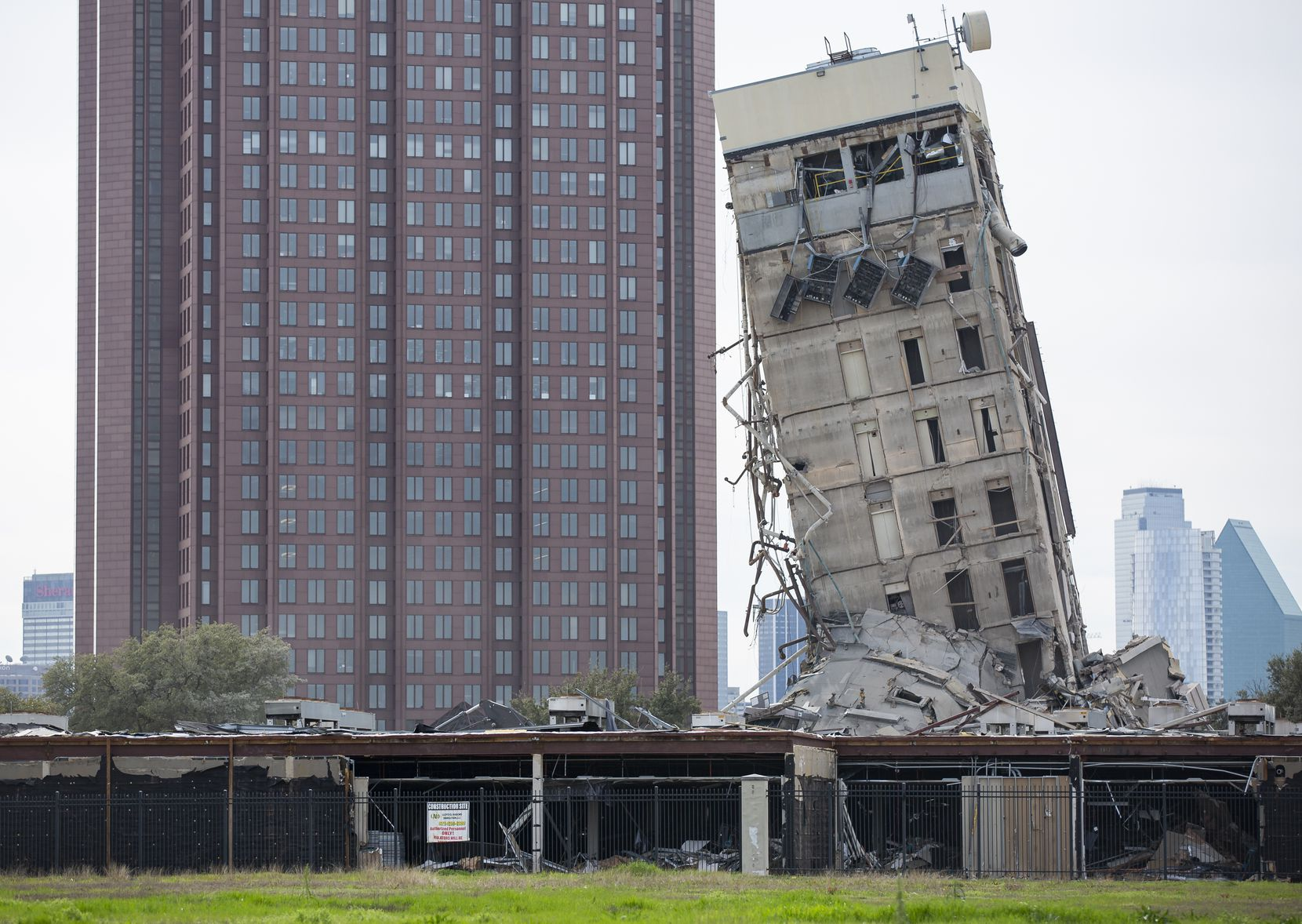 The former Affiliated Computer Services tower core shaft remains standing on Feb. 17, 2020 in Dallas. A demolition on Sunday morning left the single tower behind.