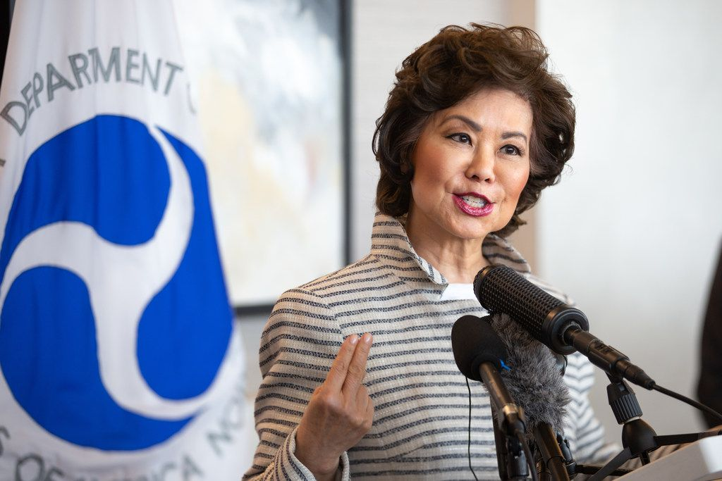 U.S. Transportation Secretary Elaine Chao announces that $57.1 million in federal funding will provide infrastructure improvements to eight airports in Texas during a press conference at DFW International Airport in Dallas on Monday, June 24, 2019.