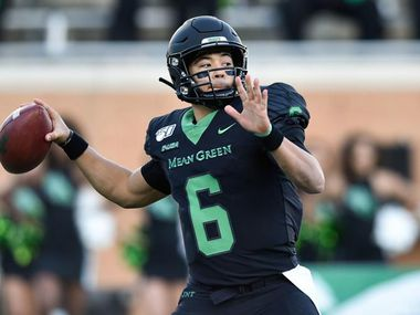 North Texas quarterback Mason Fine throws a pass during a season-ending loss to UAB at Apogee Stadium.